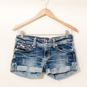 MISS ME Denim Cuffed Shorts With Zippers & Bling